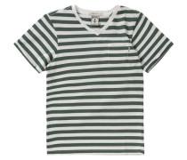 T-Shirt mit V-Ausschnitt für Jungen oliv / naturweiß