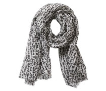 Schal schwarz-weiß mit dezenten Fransen schwarz / naturweiß