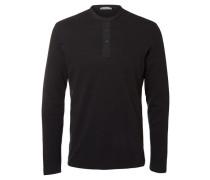 Neck-T-Shirt mit langen Ärmeln Split schwarz