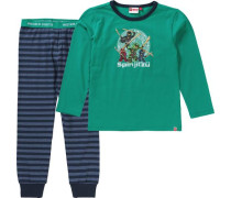 Schlafanzug 'Ninjago' für Jungen dunkelblau / smaragd