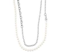 Halskette 'Classic Pearls' silber / weiß