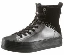 Plateau-Sneaker schwarz / silber