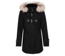 Dufflecoat mit Fake Fur schwarz