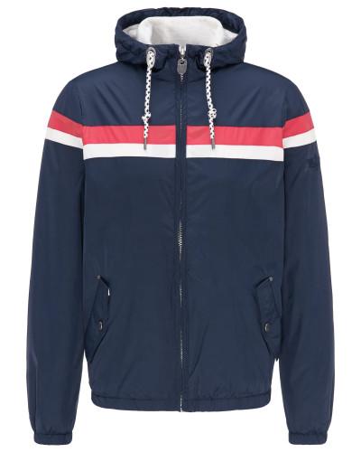 Jacke blau / pastellrot / weiß