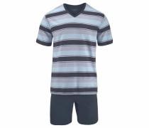 Pyjama kurz Shorty hellblau / basaltgrau