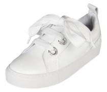 Leder-Sneaker mit Satinschnürbändern weiß