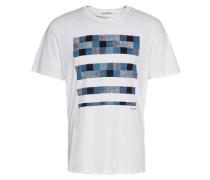 T-Shirt 'paisley check' weiß