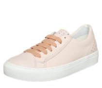 Ledersneaker mit Perforationen pink