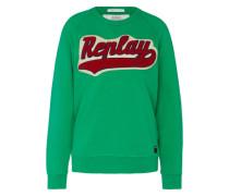Sweatshirt mit Logo-Applikation grün / rot