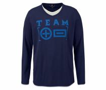2-in-1-Langarmshirt blau