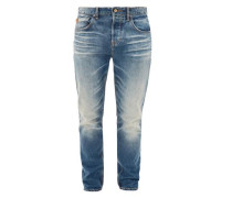 Curt Straight: Used-Jeans im 5-Pocket-Stil hellblau