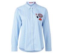 Gestreifte Bluse mit Patches hellblau