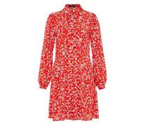 Crêpe-Kleid mit Streublumen-Print rot