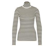 Streifen-Pullover aus Wolle weiß