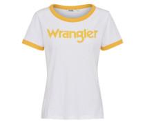 T-Shirt 'retro Kabel' goldgelb / weiß