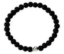 Stretch-Armband »Achat« schwarz / silber