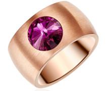 Ring Edelstahl Made With Swarovski Elements lila gold