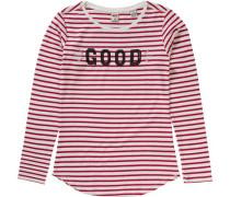 Langarmshirt für Mädchen rot / naturweiß