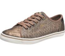 Sneaker in Reptil-Optik taupe