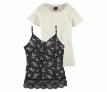 T-Shirt (Packung 2 tlg. mit Top) mischfarben / schwarz / weiß