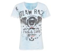 T-Shirt 'MT Outlaws round' hellblau / schwarz