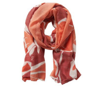 Schal rot-weiß mit Muster blutrot / naturweiß