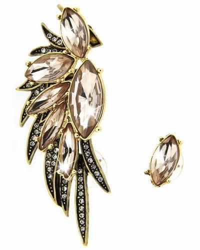 Paar Ohrstecker »Ear cuff 5815« braun / gold