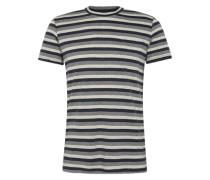 T-Shirt 'cn yd nep strip' nachtblau / grau