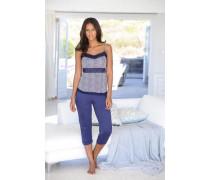 Capri-Pyjama lila / dunkellila / weiß