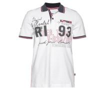Poloshirt weiß / dunkelgrau / rot