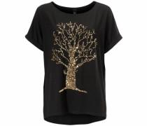 Rundhalsshirt mit Pailletten gold / schwarz