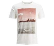 Print T-Shirt pastellrot / weiß