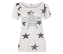 Shirt 'Neon Star' dunkelgrau / weiß