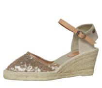 Sandalette mit Keilabsatz in Bast-Optik beige / bronze