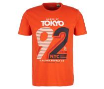 T-Shirt schwarz / orange / weiß