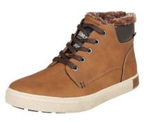 Sneaker High mit Webpelzfutter braun
