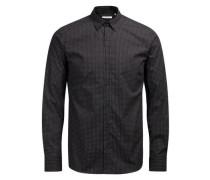 Microprint-Langarmhemd schwarz