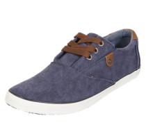 Sneaker aus gewaschenem Canvas navy / braun