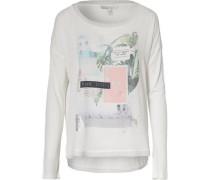 Shirt mit Material-Mix und Print