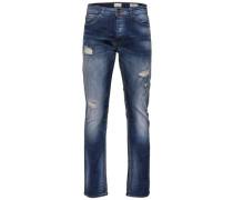 Slim Fit Jeans 'Weft dark blue breaks' blau