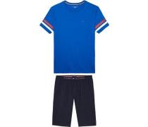 Pyjama 'SS Short SET Stripe' blau