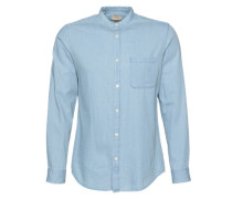 China-Kragen-Slim Fit Hemd blau