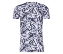 Gemustertes T-Shirt 'Johnston' schwarz / weiß