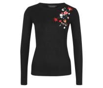 Leichter Ripp-Pullover mit Stickerei schwarz