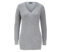 Long-Pullover Rippe grau