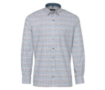 Langarm Hemd Modern FIT blau / braun / weiß