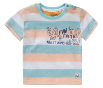 Baby T-Shirt für Jungen türkis / dunkelblau / pastellorange / weiß
