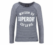 Langarmshirt 'amour Stripe Graphic Top' marine / weiß