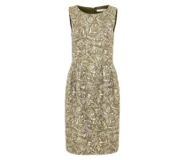 Jacquard-Kleid mit Blättermotiv mischfarben