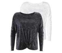 Langarmshirt (2 Stück) schwarz / weiß